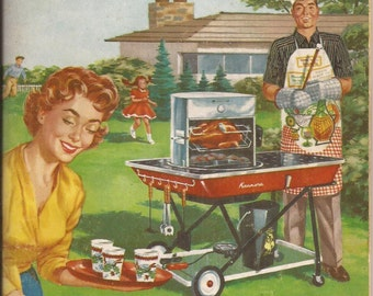 Sears Roebuck and Company, Kenmore, Let's Cook - Outdoors, Vintage Cookbook, Bar-b-que, Grilling, Outdoor Dining, Recipes
