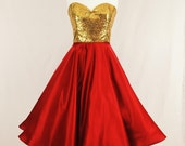 Gold Sequin and Red Satin Strapless Party Dress. With a full circle skirt, 1050's inspired, New Years Eve, Christmas