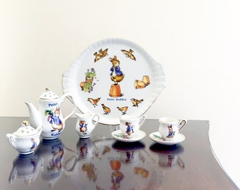 Miniature Tea Set Peter Rabbit Doll Tea Set   The World Of Beatrix Potter 10 Piece Ceramic China Collectible Porcelain Frederick Warne