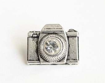 Camera Pin, Tie Tack, Silver Lapel Pin, Rhinestone Pin