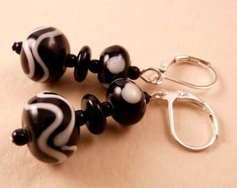 Lampwork Earrings Black Earrings Black Lampword Earrings Black and White Earrings Lampwork Jewelry Beaded Jewelry Beaded Earrings