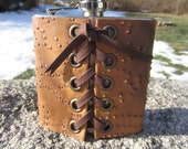 Leather Covered Flask \ Stainless Steel Hip Flask w/ Funnel  Brown Textured Printed Leather  Z1017