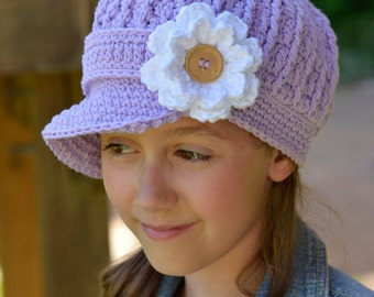 Purple Crochet Hat for Girls, Little Girl Newsboy Hat, Crochet Newsboy Hat for Girls, Crochet Newsgirl Hat, Hat for Toddler Girls