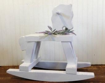 Handmade Wood Childs Shabby White Rocking Horse Baby Girl Nursery Bedroom Decor Lavender Flowers