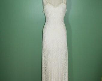 Antique Vintage Deco Nouveau 20's 30's Ivory Lace Long Spaghetti Strap Dress Wedding Dress Garden Party Dress