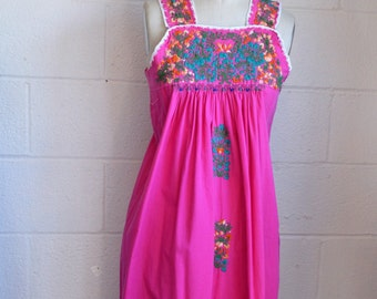Vintage Embroidered  Oaxacan Mexican Dress 1960s Boho Dress Pink Cotton with Intricate Floral Embroidery Sleeveless Mexican Dress Size Small