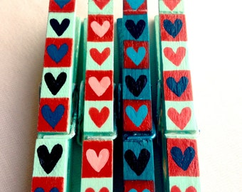 HEARTS Clothespin hand painted magnetic pegs red and aqua