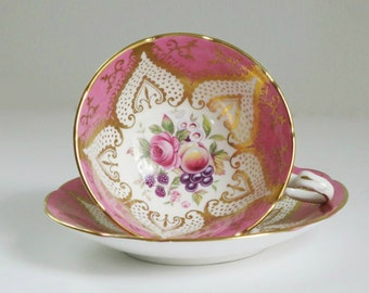 Vintage Pink Paragon Tea Cup and Saucer,  Vintage Pink Gold Teacup and Saucer, Paragon Bubble Gum Pink Cup and Saucer, TeaCup Gift Ideas