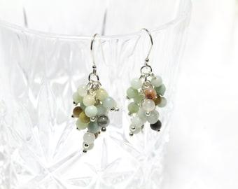 Genuine Jade Cluster Drop Earrings with Sterling Silver 925