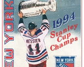 New York Rangers - Stanley Cup Champions - Mark Messier - Rangers fan gift - Sports Bar Man Cave Boys room decor - Fathers Day gift for Dad