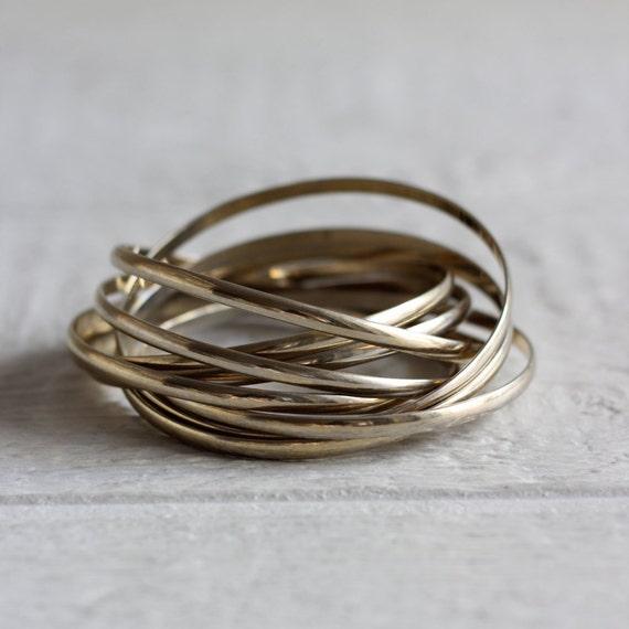 70s Stacked Bracelets . Gold Bangle Bracelets . Womens