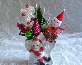 Vintage Christmas Decoration Spun Cotton Santa Clause Retro  Mercury Glass
