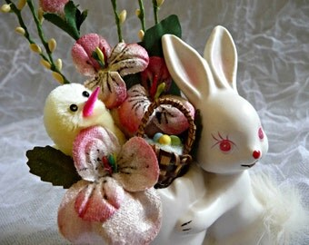 Small Easter Bunny Floral Arrangement Vintage Chenille Chick Pink Millinery Velvet Flowers Shabby Decor