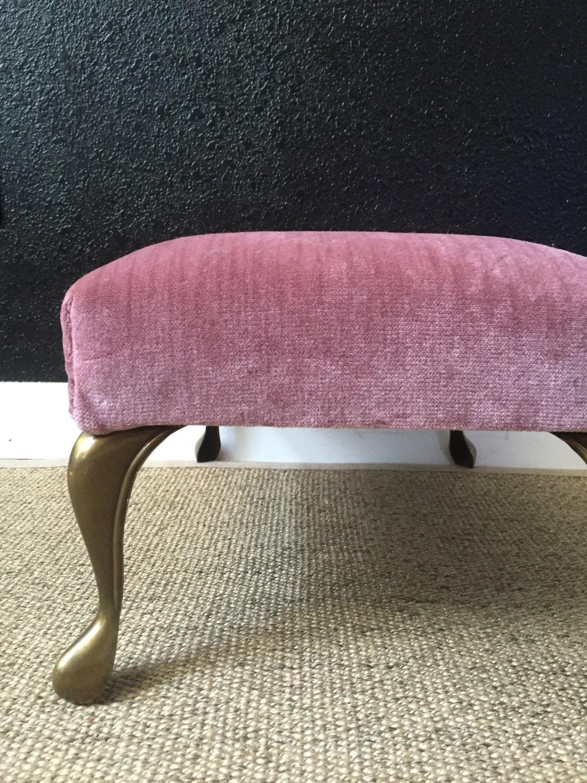 Vintage Pretty Ash Pink Velvet Foot Stool Seat