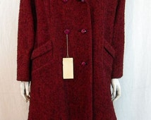 Ladies 1950s Vintage Red And Black Tweed Wool Coat Never Worn