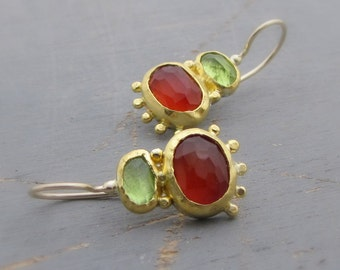 Carnelian and Peridot Earrings - 24 Karat Solid Gold Earrings with Red Carnelian & Green Peridot Gemstone