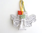 3 Christmas angels decoration Xmas tree ornament royal dwarf in dragonfly wings,Pastel mint, peach,white dotted gold, Christmas stocking