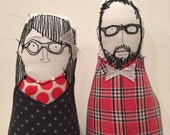 Reserved for Brandon - Custom Family Portrait , mother, father and their baby  - Soft sculpture dolls -Timo handmade
