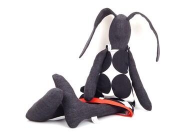 Handmade Modern Baby Toy  -eco rag doll - Black bunny doll - softie plush rabbit - stuffed bunny - rabbit hare - soft toy - black & white -