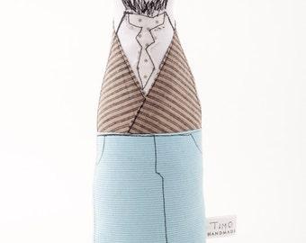 Bearded doll , Male art doll - Soft sculpture men doll with glasses, beige jacket, polka-dot tie light blue corduroy -timohandmad cloth doll