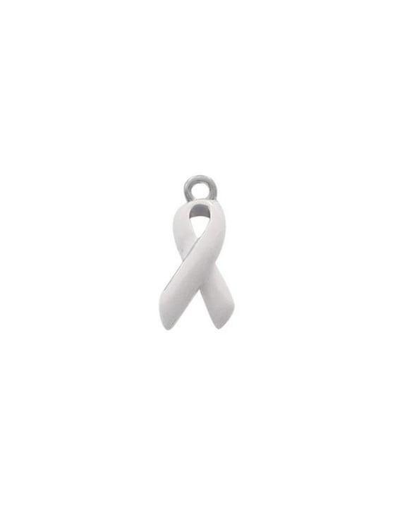 Silver Plated, Enameled,  White Ribbon Charm, Qty.1
