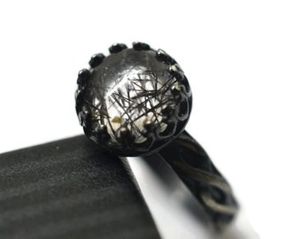 Black Rutile Quartz Ring, Tourmalinated Quartz, Oxidized Silver Celtic Style Ring, Custom Engraving, Gothic Gemstone, Needle Quartz Jewelry