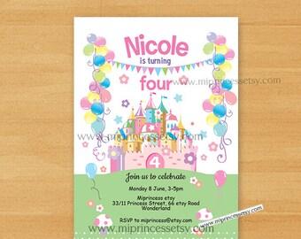 princess castle birthday party invitation. castle 1st 2nd 3rd 4th 5th 6th 7th 8th 9th 10th kids fun little girl birthday party card 712