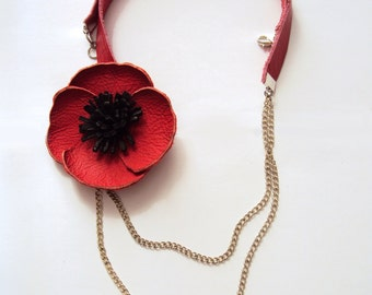 Red Poppy Necklace, Floral Leather Jewelry, Red Necklace, Spring Poppy, Leather Flower, Chain Necklace, Statement, Red Black, Nature Jewelry