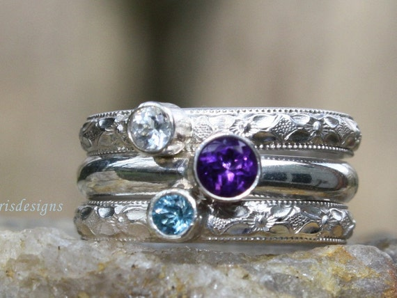 3 Gemstones, Birthstone Stacking Ring Set,  Family & Mother's Rings made with Sterling Silver and Gemstones. Custom made