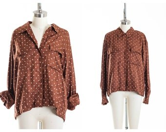 80s Slouchy Brown Polka Dot Blouse