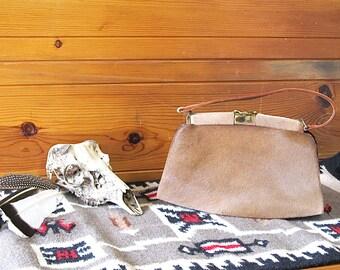 CATTLE DRIVE Vintage 50s Purse | 1950's Tan Cowhide Fur Handbag | Rockabilly, Western, Boho, Southwestern, Cowgirl, Hand Bag