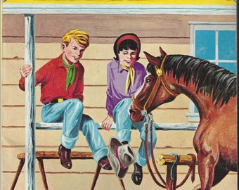 Lazy T Ranch Vintage Coloring Book, C1966 (1 page colored)