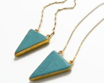 Turquoise Triangle Necklace, Turquoise Jewelry, Gold Necklace, Triangle Necklace, Statement Necklace, Layering Necklace, Cable or Link Chain