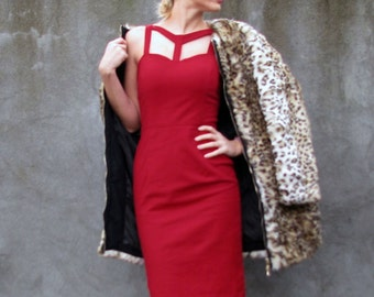 ON SALE Bodycon Designer Heartshaped Dress with Front Details - Red - Size S