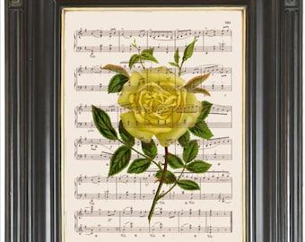 Yellow rose wall art print on music or dictionary page COUPON SALE Dictionary art print Wall decor Digital sheet music print No. 2272