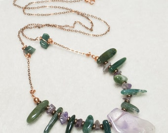 "Edgy Boho Green and Purple Necklace on antiqued copper chain amethyst and green jasper - Series 6 ""The Signs of Spring"" - Art Jewelry"