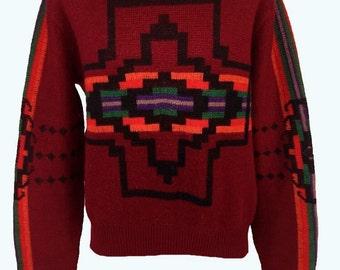 Vintage Pendleton Sweater XL red wool Navajo Southwestern Aztec Pendelton High Grade Western Wear