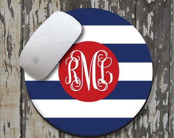 STRIPE Personalized Mouse Pad, Personalized Mousepad, Monogrammed Mouse Pad, Monogrammed Mousepad, Custom Mouse Pad, Custom Mousepad