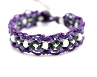 Violet Twilight Macrame Hemp Bracelet