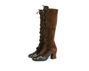 Vintage 1960's Lujano Spanish Leather Lace Up Two Tone Boots Go Go Dancer Mod Retro Bohemian Hippie Women's Size 7 M Vtg Vg