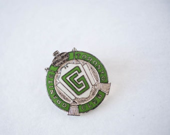 Vintage Granite Club Pin Sports Memorabilia Collectible Award Green Enamel Kitsch Canada Canadian