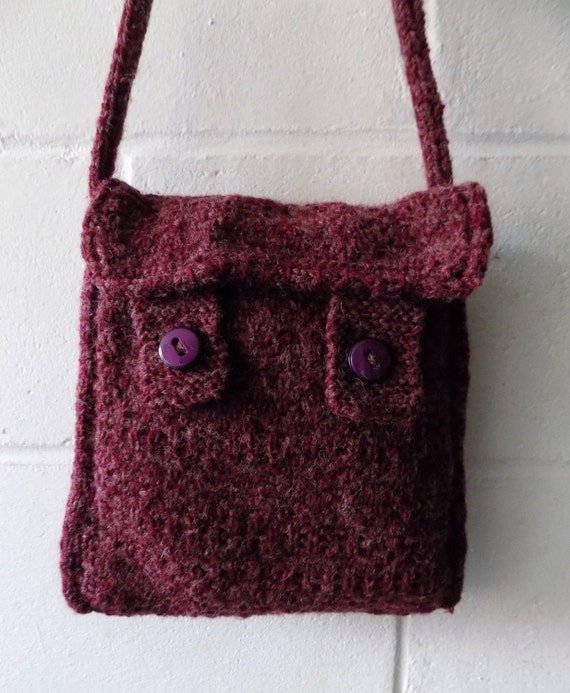 Knitting Pattern Lavender Bag : Purple Knitted Shoulder Bag Hand Knitted Handbag.