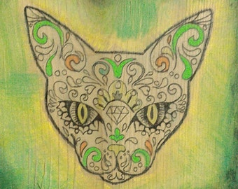 Decorative Wall Art with Day of Dead Theme - Cat in Yellow and Green