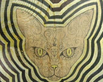 Decorative Wall Art with Day of Dead Theme - Hypno-Cat in Gold & Black