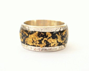 Black gold ring Sterling silver ring inlaid with gold foil finished with resin black silver ring black gold ring, men ring, silver ring men