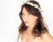 SAKE Holiday Headband, flower Crown, New Years Eve, Winter Headpiece, Holiday accessory,  floral crown, Christmas Wedding, blue gold silver