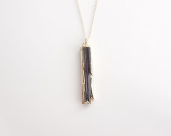 Black Raw Tourmaline Necklace - BEST SELLER - Similar Featured in an Etsy Newsletter