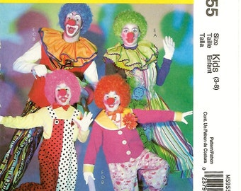 McCall's 5955 Child's Clown Costume Sewing Pattern Size 3 to 8; Chest Breast 22 to 27