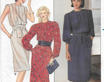 Butterick 6679 Misses 70s Pullover Dress Sewing Pattern Size 14 Bust 36