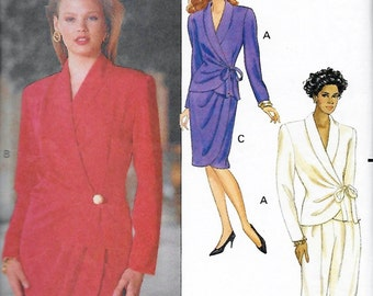 Butterick 5068 Women's 90s Suit Top, Mock Wrap Skirt & Pants Sewing Pattern Size 12 to 16 Bust 34 to 38